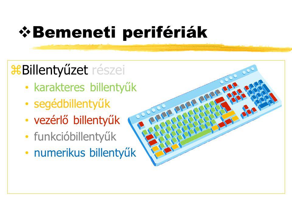 Bemeneti perifériák Billentyűzet részei karakteres billentyűk
