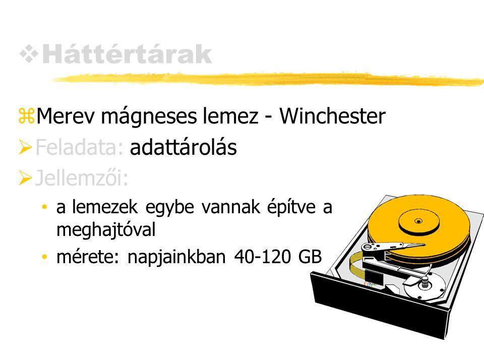 Háttértárak Merev mágneses lemez - Winchester Feladata: adattárolás