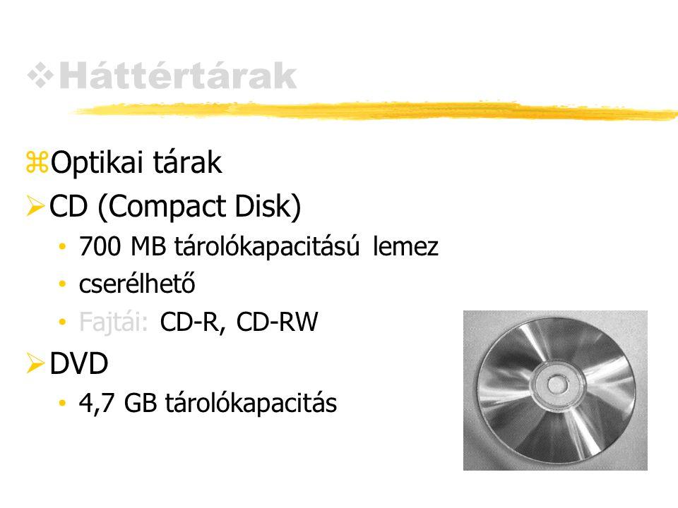 Háttértárak Optikai tárak CD (Compact Disk) DVD