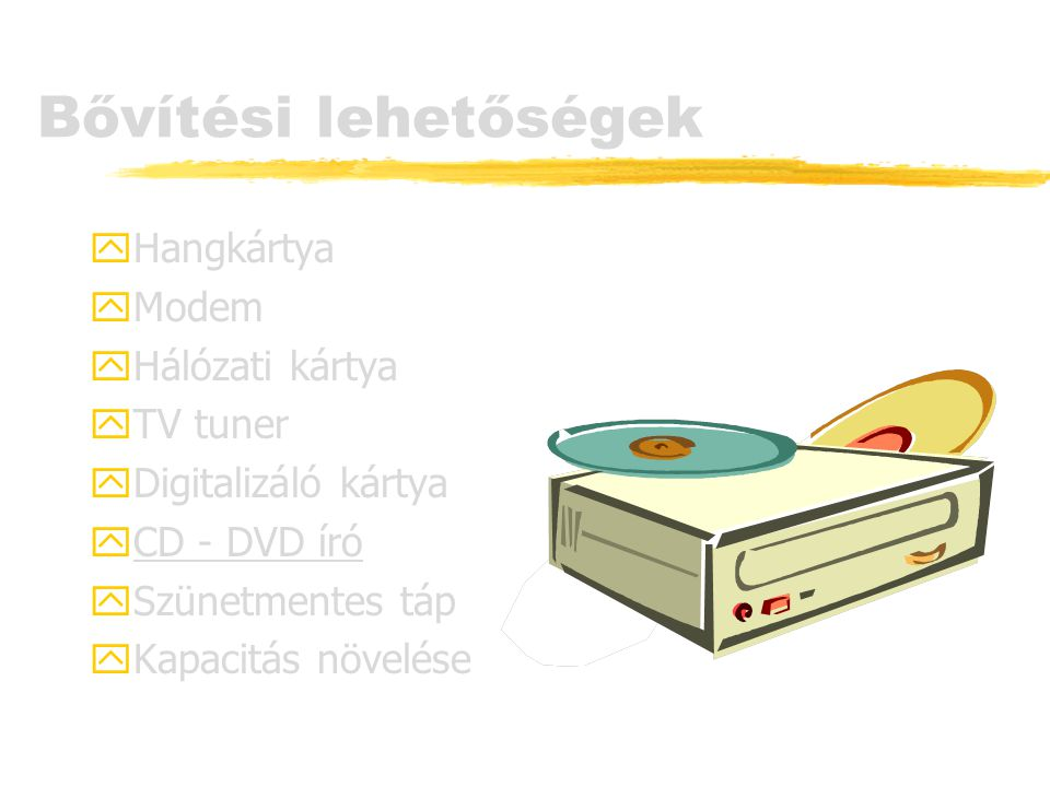 Bővítési lehetőségek Hangkártya Modem Hálózati kártya TV tuner