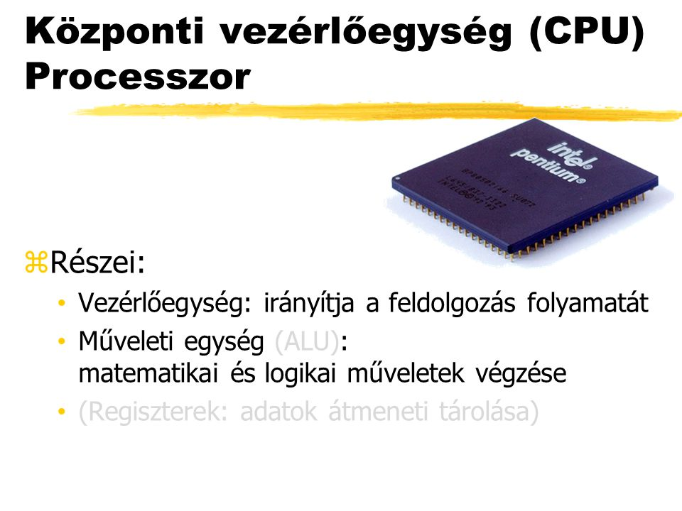 Központi vezérlőegység (CPU) Processzor