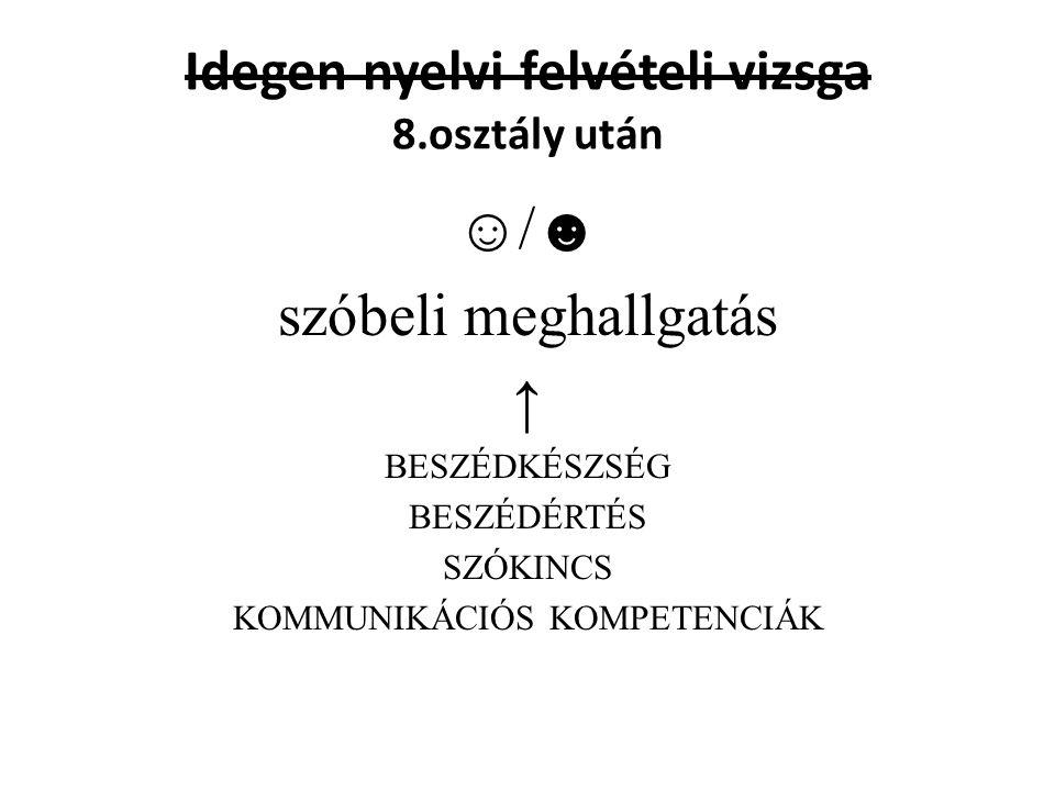 Idegen nyelvi felvételi vizsga 8.osztály után