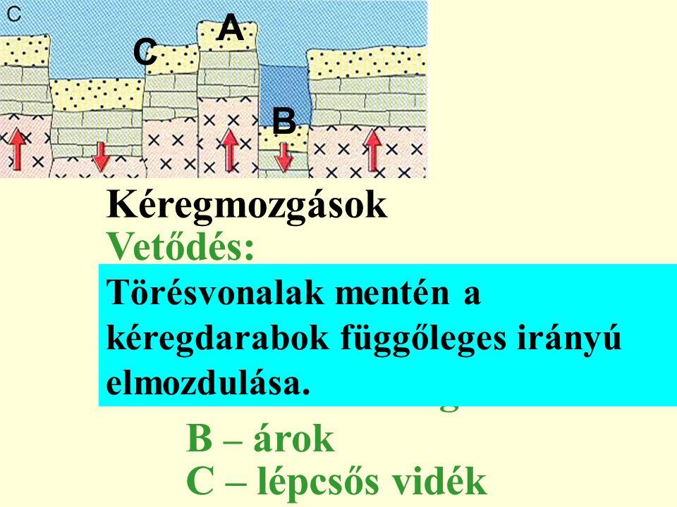 Kéregmozgások Vetődés: A – kiemelt rög B – árok C – lépcsős vidék A C