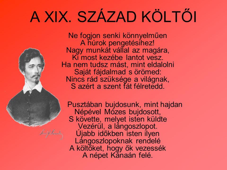 A XIX. SZÁZAD KÖLTŐI