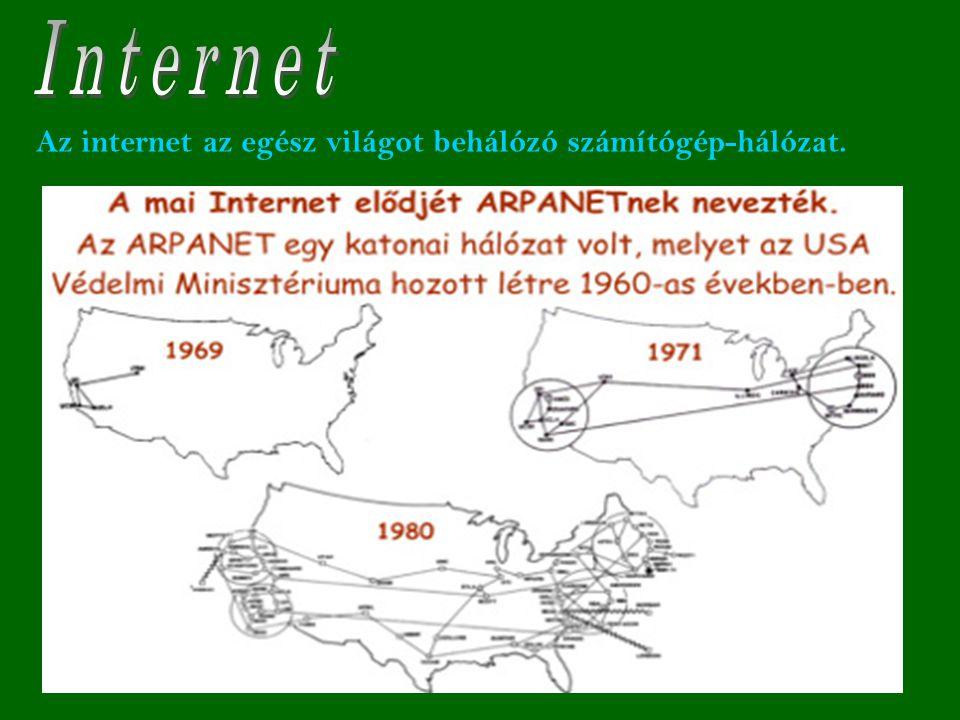 Internet Az internet az egész világot behálózó számítógép-hálózat.
