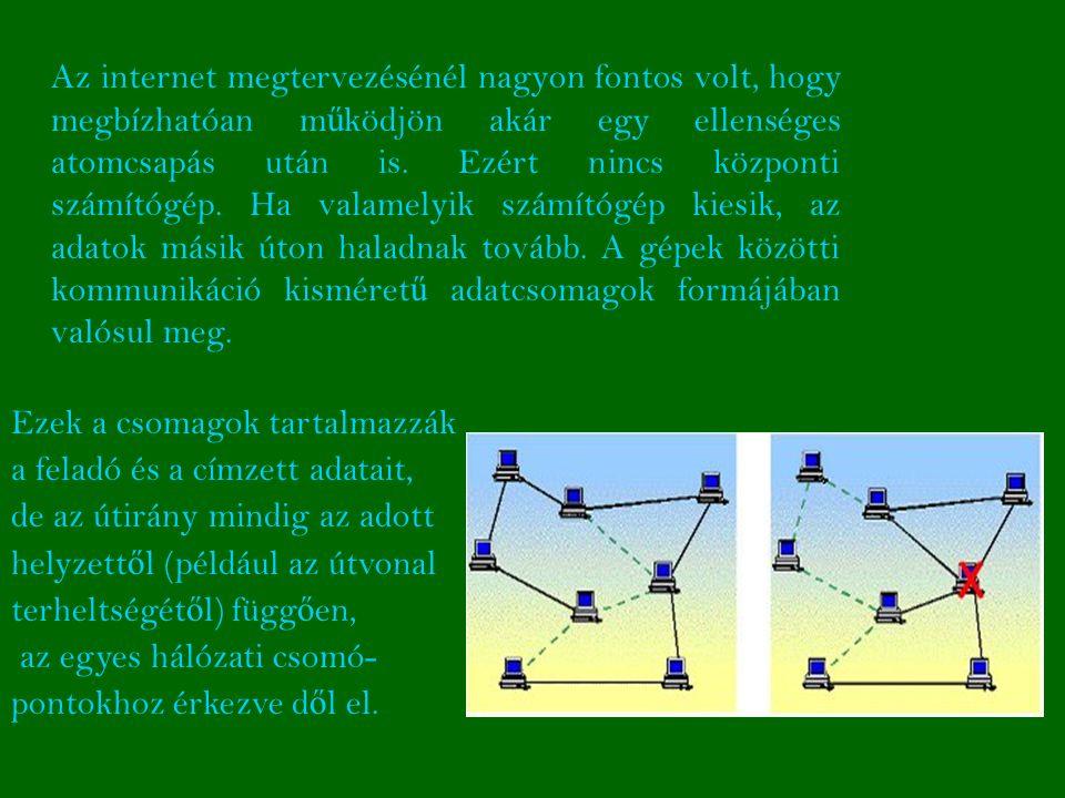 Az internet megtervezésénél nagyon fontos volt, hogy megbízhatóan működjön akár egy ellenséges atomcsapás után is. Ezért nincs központi számítógép. Ha valamelyik számítógép kiesik, az adatok másik úton haladnak tovább. A gépek közötti kommunikáció kisméretű adatcsomagok formájában valósul meg.
