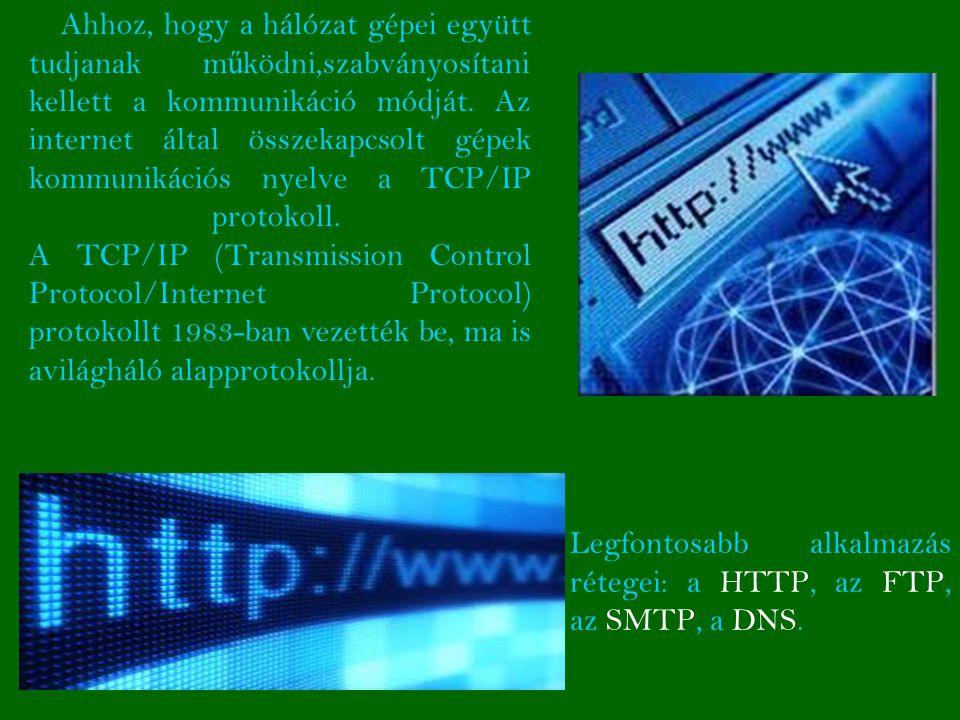 Ahhoz, hogy a hálózat gépei együtt tudjanak működni,szabványosítani kellett a kommunikáció módját. Az internet által összekapcsolt gépek kommunikációs nyelve a TCP/IP protokoll. A TCP/IP (Transmission Control Protocol/Internet Protocol) protokollt 1983-ban vezették be, ma is avilágháló alapprotokollja.