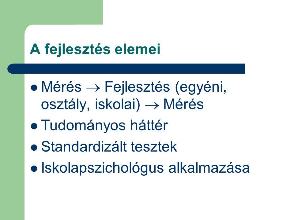 A fejlesztés elemei Mérés  Fejlesztés (egyéni, osztály, iskolai)  Mérés. Tudományos háttér. Standardizált tesztek.