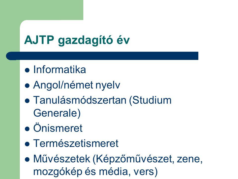 AJTP gazdagító év Informatika Angol/német nyelv