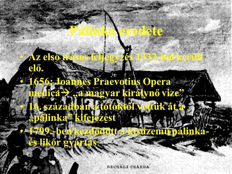 Pálinka eredete Az első írásos feljegyzés 1332-ből került elő.