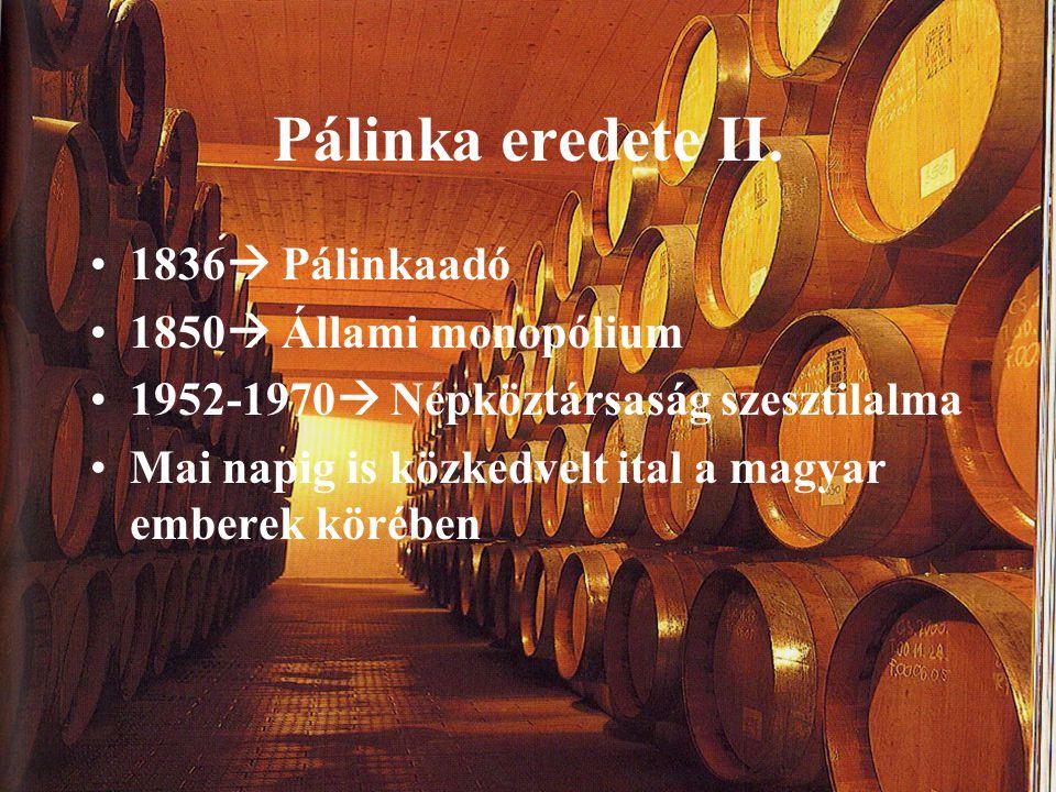 Pálinka eredete II. 1836 Pálinkaadó 1850 Állami monopólium