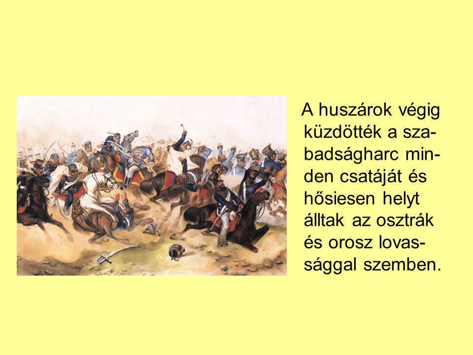 A huszárok végig küzdötték a sza-badságharc min-den csatáját és hősiesen helyt álltak az osztrák és orosz lovas-sággal szemben.