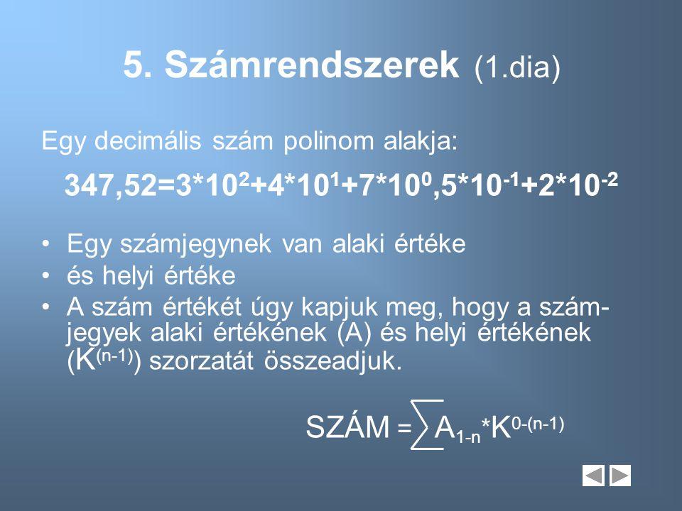 5. Számrendszerek (1.dia) 347,52=3*102+4*101+7*100,5*10-1+2*10-2
