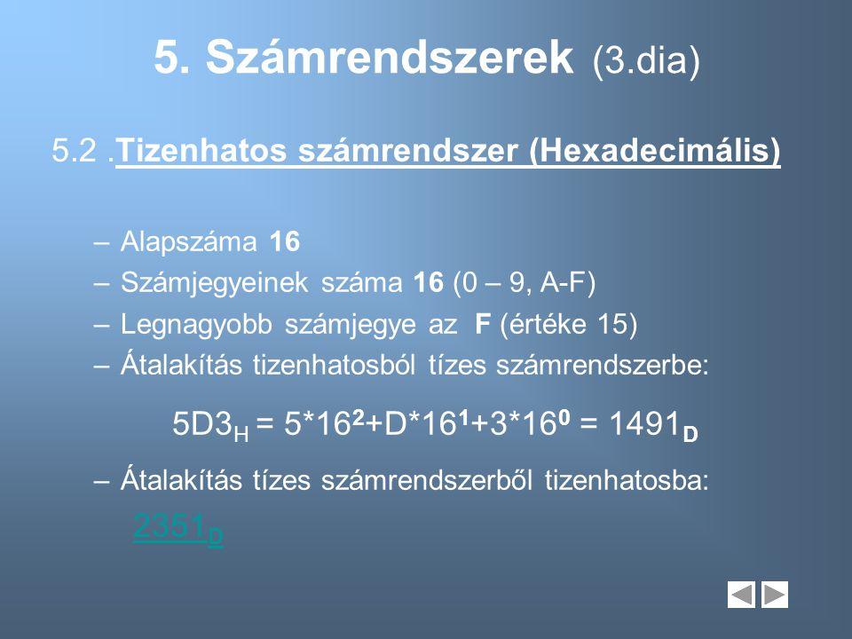 5. Számrendszerek (3.dia) 5.2 .Tizenhatos számrendszer (Hexadecimális)