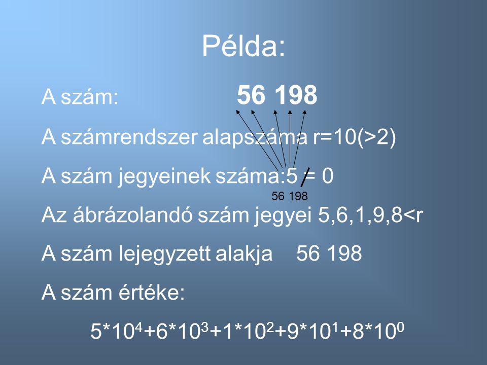 Példa: A szám: 56 198 A számrendszer alapszáma r=10(>2)