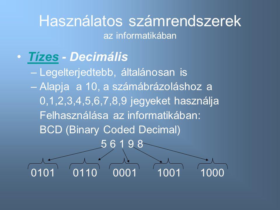 Használatos számrendszerek az informatikában