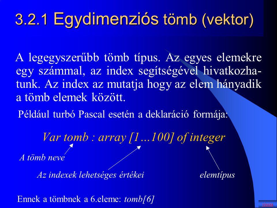 3.2.1 Egydimenziós tömb (vektor)