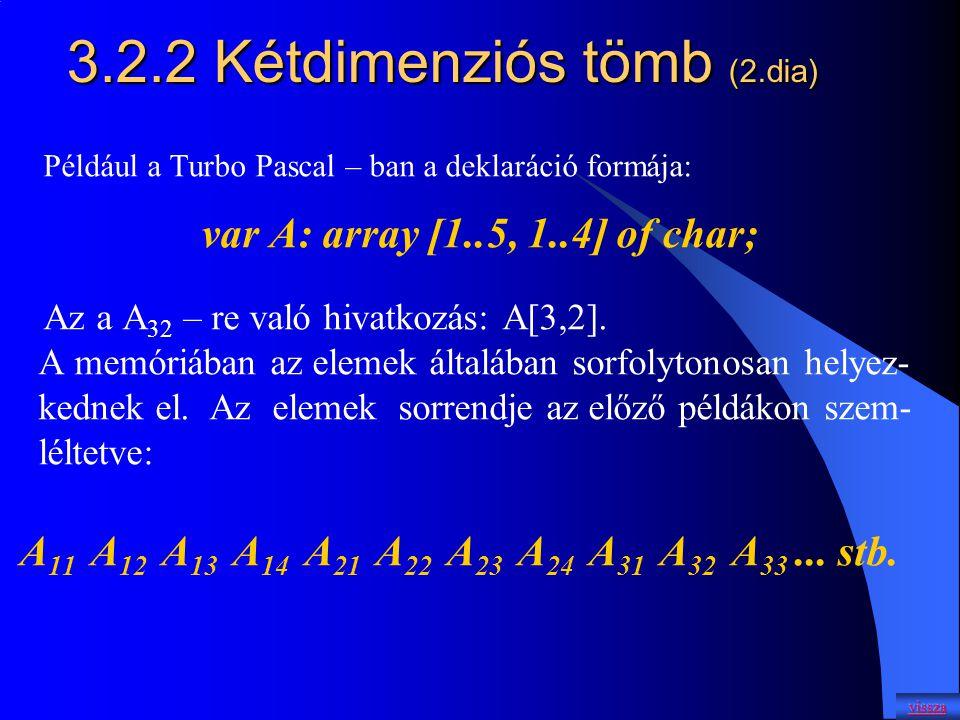 3.2.2 Kétdimenziós tömb (2.dia)