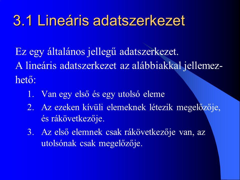 3.1 Lineáris adatszerkezet