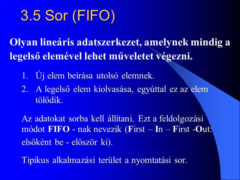 3.5 Sor (FIFO) Olyan lineáris adatszerkezet, amelynek mindig a