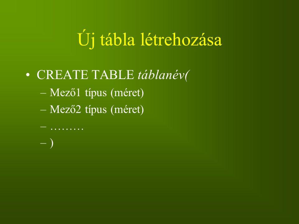 Új tábla létrehozása CREATE TABLE táblanév( Mező1 típus (méret)