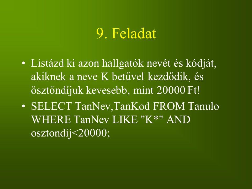 9. Feladat Listázd ki azon hallgatók nevét és kódját, akiknek a neve K betűvel kezdődik, és ösztöndíjuk kevesebb, mint 20000 Ft!