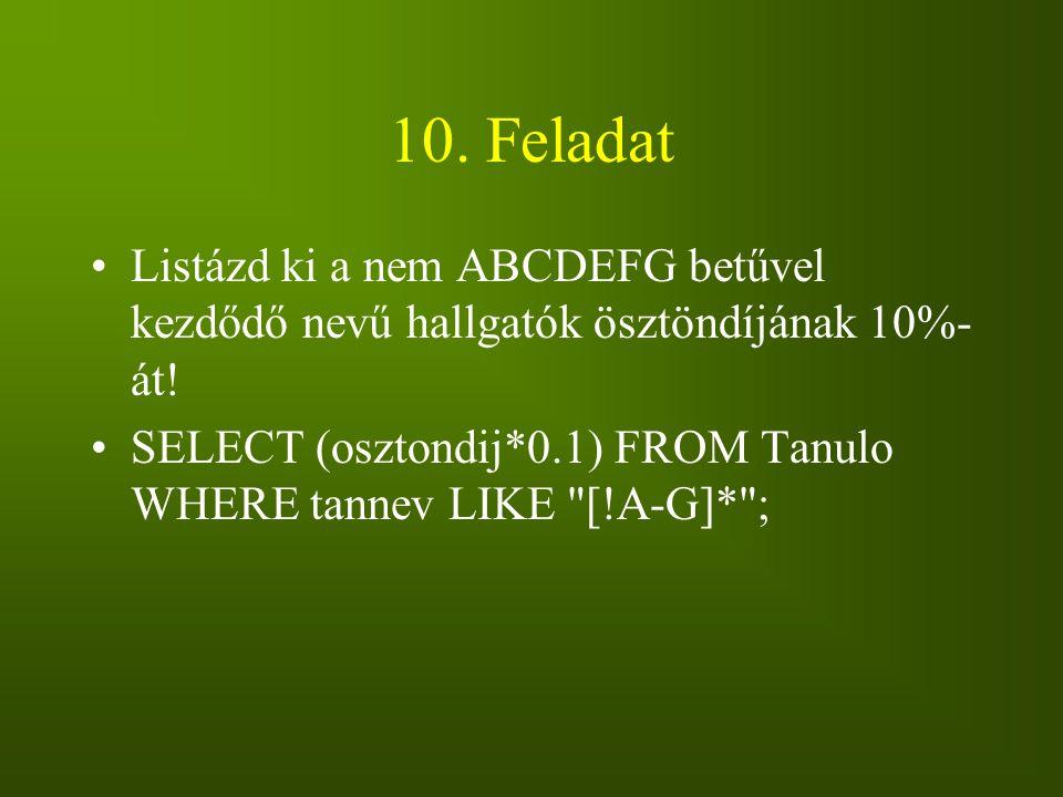 10. Feladat Listázd ki a nem ABCDEFG betűvel kezdődő nevű hallgatók ösztöndíjának 10%-át!