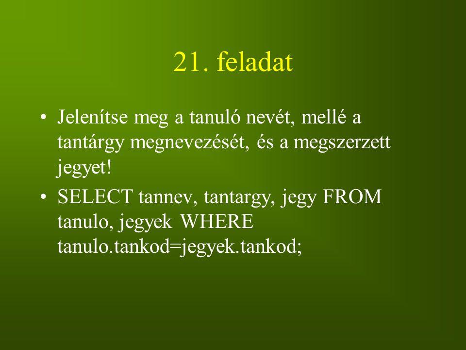 21. feladat Jelenítse meg a tanuló nevét, mellé a tantárgy megnevezését, és a megszerzett jegyet!