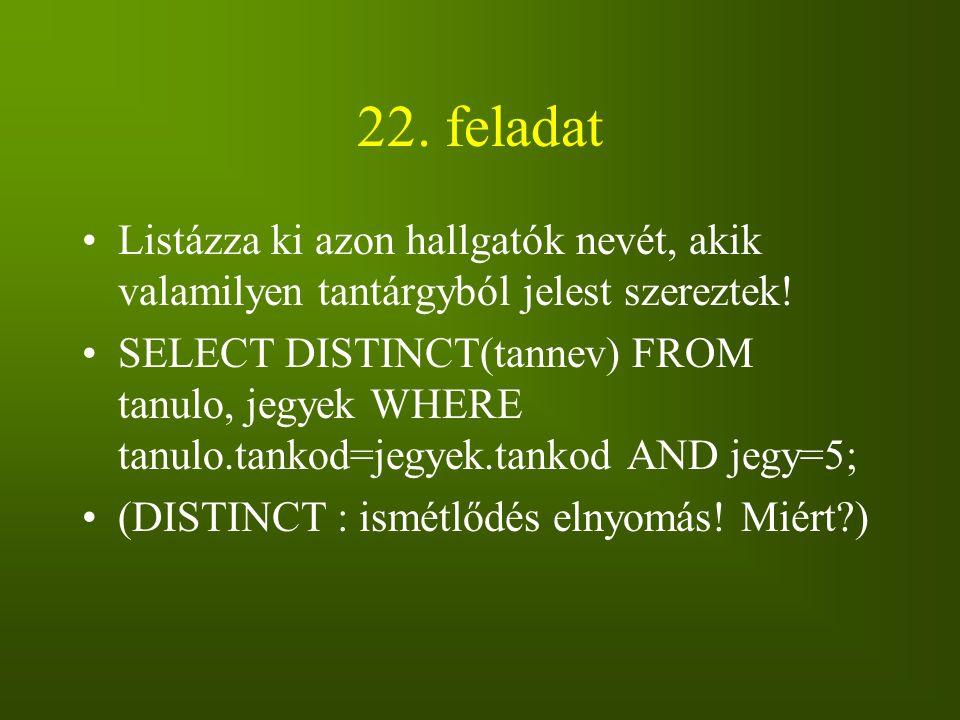 22. feladat Listázza ki azon hallgatók nevét, akik valamilyen tantárgyból jelest szereztek!