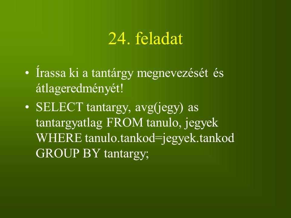24. feladat Írassa ki a tantárgy megnevezését és átlageredményét!