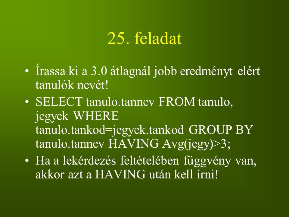 25. feladat Írassa ki a 3.0 átlagnál jobb eredményt elért tanulók nevét!