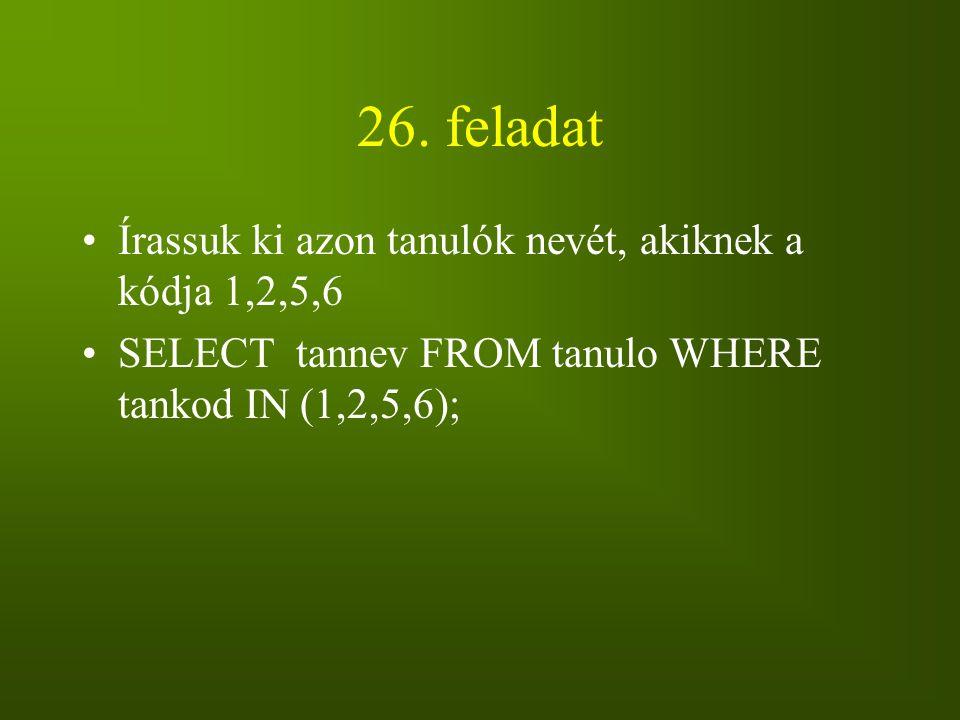 26. feladat Írassuk ki azon tanulók nevét, akiknek a kódja 1,2,5,6