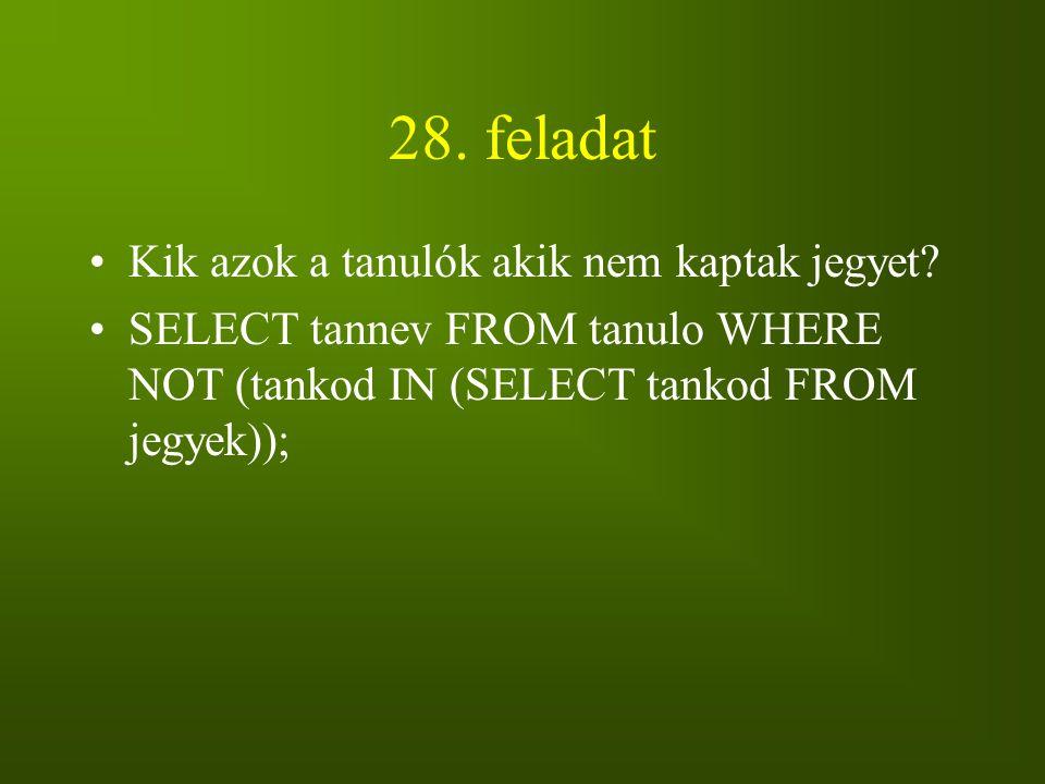28. feladat Kik azok a tanulók akik nem kaptak jegyet