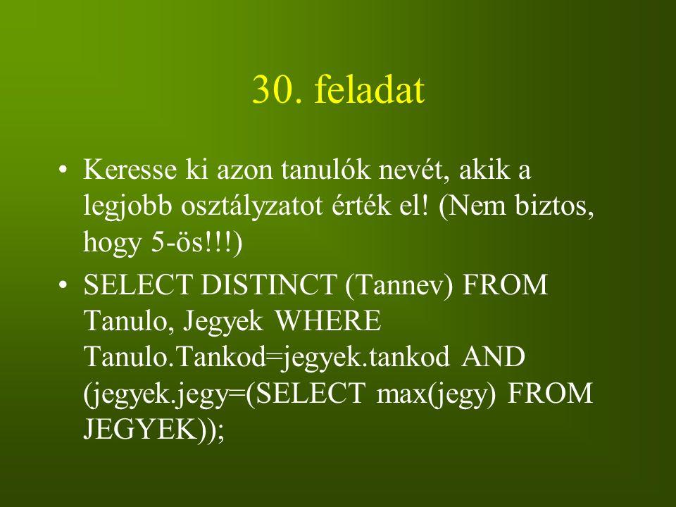 30. feladat Keresse ki azon tanulók nevét, akik a legjobb osztályzatot érték el! (Nem biztos, hogy 5-ös!!!)