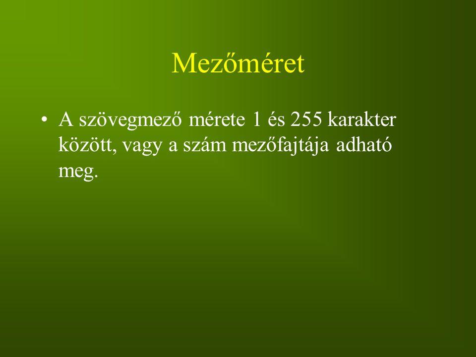 Mezőméret A szövegmező mérete 1 és 255 karakter között, vagy a szám mezőfajtája adható meg.