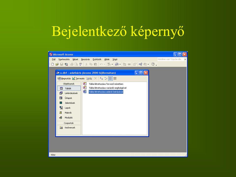 Bejelentkező képernyő