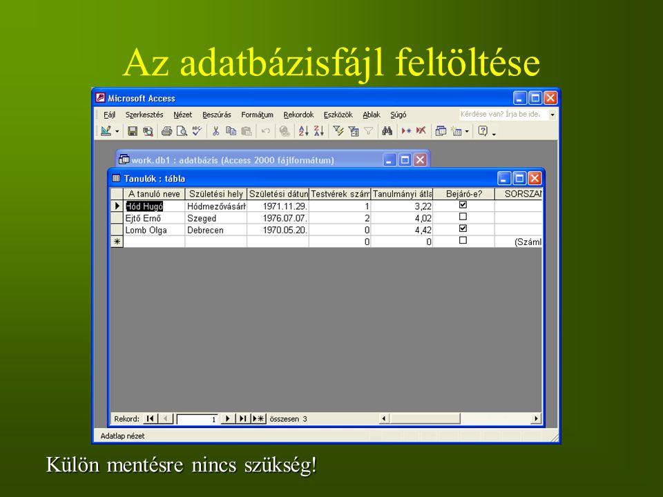 Az adatbázisfájl feltöltése