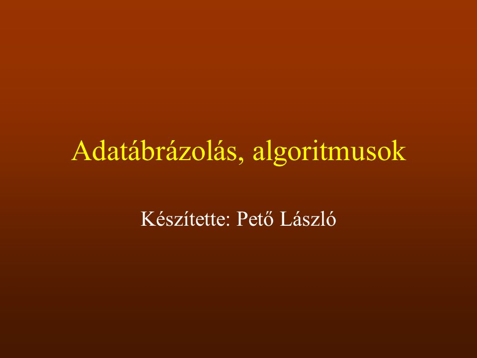 Adatábrázolás, algoritmusok