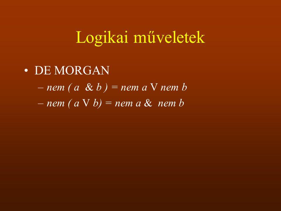 Logikai műveletek DE MORGAN nem ( a & b ) = nem a V nem b