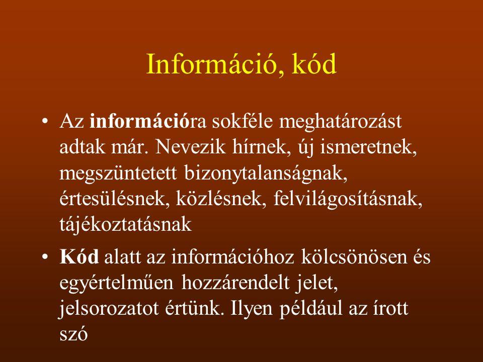 Információ, kód
