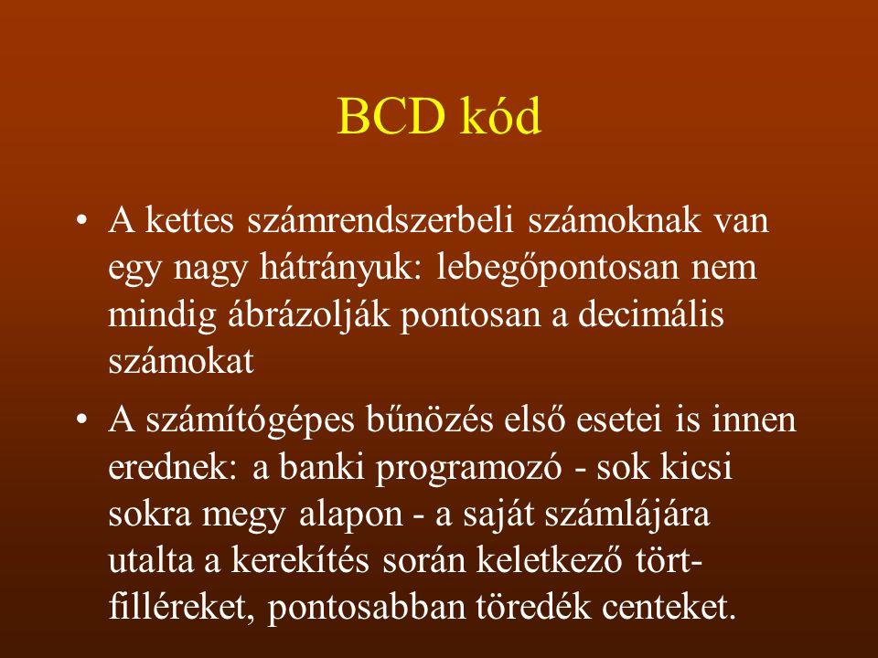 BCD kód A kettes számrendszerbeli számoknak van egy nagy hátrányuk: lebegőpontosan nem mindig ábrázolják pontosan a decimális számokat.