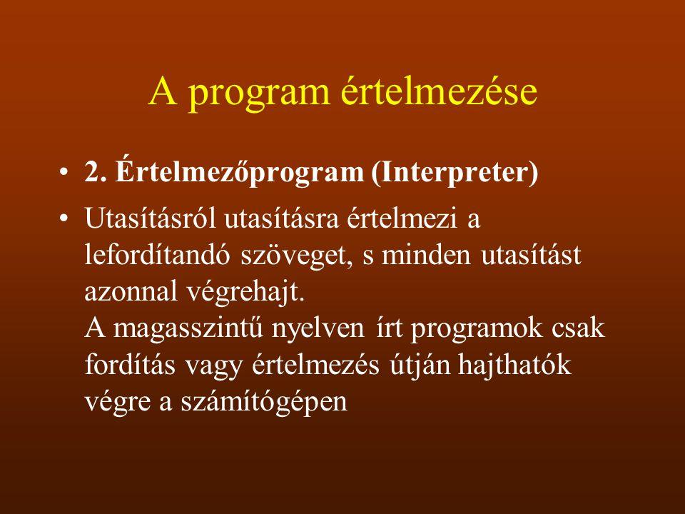 A program értelmezése 2. Értelmezőprogram (Interpreter)