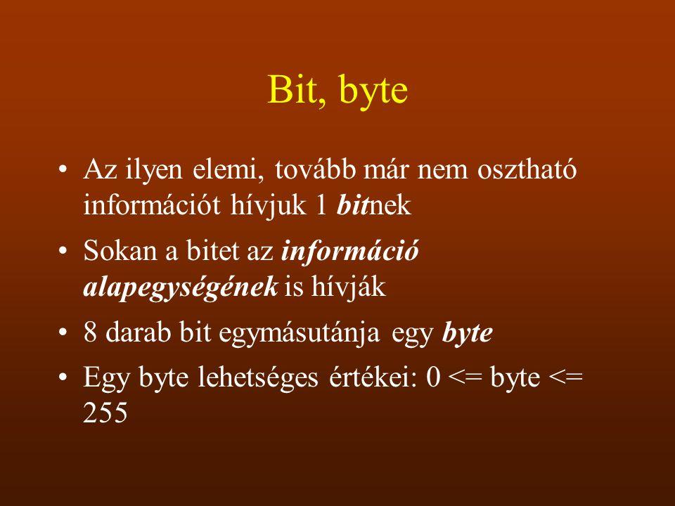 Bit, byte Az ilyen elemi, tovább már nem osztható információt hívjuk 1 bitnek. Sokan a bitet az információ alapegységének is hívják.