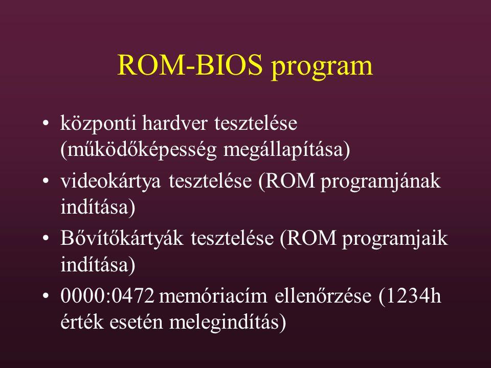 ROM-BIOS program központi hardver tesztelése (működőképesség megállapítása) videokártya tesztelése (ROM programjának indítása)
