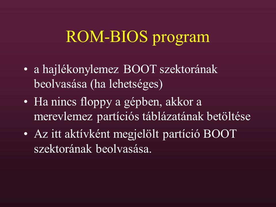 ROM-BIOS program a hajlékonylemez BOOT szektorának beolvasása (ha lehetséges)