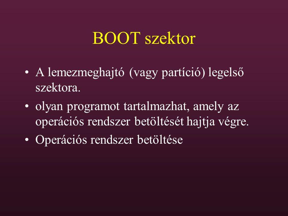 BOOT szektor A lemezmeghajtó (vagy partíció) legelső szektora.