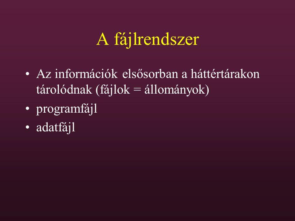 A fájlrendszer Az információk elsősorban a háttértárakon tárolódnak (fájlok = állományok) programfájl.