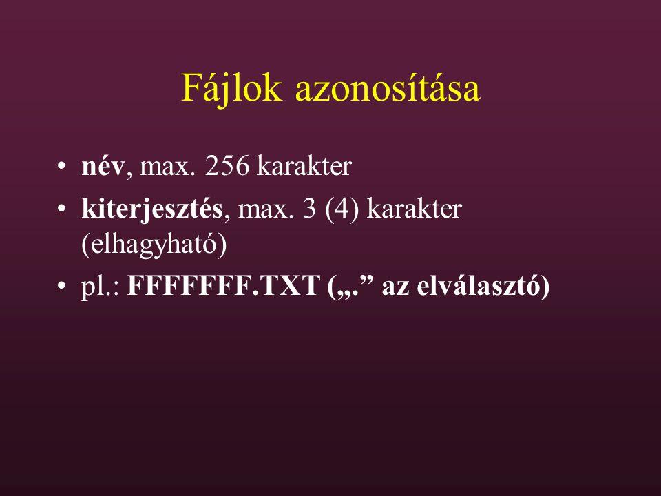 Fájlok azonosítása név, max. 256 karakter