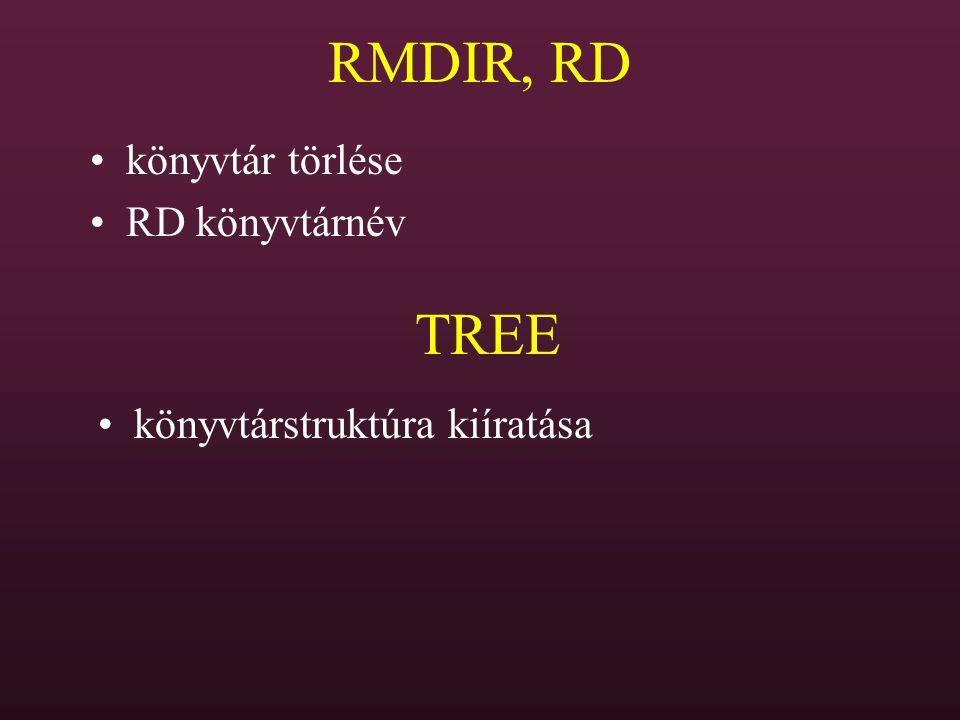 RMDIR, RD TREE könyvtár törlése RD könyvtárnév