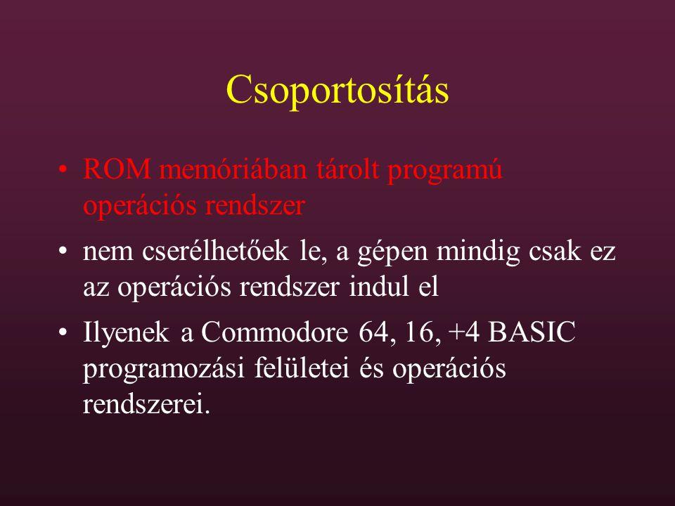 Csoportosítás ROM memóriában tárolt programú operációs rendszer